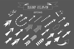 Unique collection of hand drawn arrows. Royalty Free Stock Images