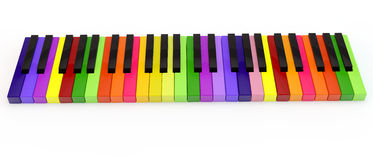 Unique colored keys. Unique multi-colored keys of the classical keyboard of a piano Royalty Free Stock Photography