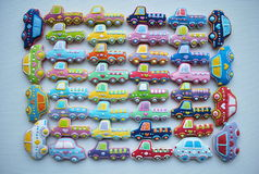 Unique , Colorful  Mix Of Christmas Themed Decorated Honey Cookies  in  The Shape Of Car. Mixed Colorful Christmas Cookies , car shaped, honey cookies , for Stock Photography