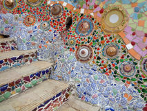 Unique Colorful Mosaic Wall and Staircase up to the Buddhism Temple Stock Image