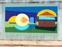 Unique and Colorful Wall Mural On A Bridge Underpass On James Rd in Memphis, Tn. Vivid Colorful Mural on a wall on a bridge underpass in Memphis, TN Royalty Free Stock Image
