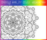 Unique coloring book page for adults - flower Stock Image