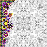 Unique coloring book square page for adults - floral authentic c Stock Photos
