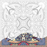 Unique coloring book square page for adults Royalty Free Stock Photos