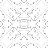Unique coloring book square page for adults - seamless pattern. Tile design, joy to older children and adult colorists, who like line art and creation. Black Stock Photos