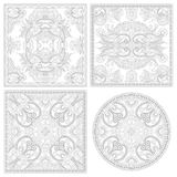 Unique coloring book square page set for adults Royalty Free Stock Photos