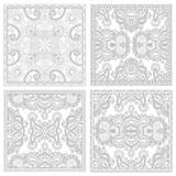 Unique coloring book square page set for adults. Floral authentic carpet design, joy to older children and adult colorists, who like line art and creation Royalty Free Stock Images