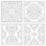 Unique coloring book square page set for adults Stock Images