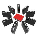 Unique concept with briefcases. Unique concept of red briefcase stand out from a group of black briefcases Royalty Free Stock Photo