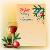 Unique concept for Christmas scene. With hanging ornamental, colorful Christmas balls, snowflakes and Christmas tree branches, Glass of wine and candle. For vector illustration