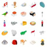 Unique country icons set, isometric style. Unique country icons set. Isometric set of 25 unique country vector icons for web isolated on white background Royalty Free Stock Images
