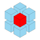 Unique cube. Blue three dimensional cube with unique red one Stock Photography