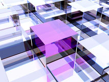 Unique cube. One purple cube against other cubes, symbolizing leadership, uniqueness or different thinking Stock Photos