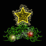 Unique curly Christmas tree design in black backgr Stock Image