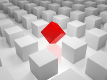 Unique. 3D image of cube standing out of the crowd Royalty Free Stock Photo
