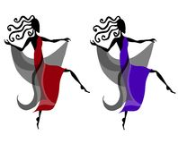 Unique Dancing Female Figures. A clip art illustration of your choice of 2 dancing female figures, silhouetted in black with just a touch of blue and red color Royalty Free Stock Photography