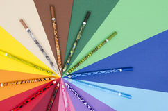 Unique design color pencils on paper. Royalty Free Stock Photography