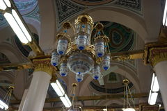 Unique Design of Lighting. The Unique Design of Lighting at Mosque of Prophet. Have 8 bulbs lamp with syahadah at outside Royalty Free Stock Image