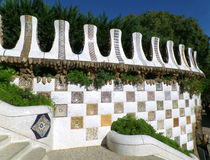 Unique designed wall in Park Guell of Barcelona Royalty Free Stock Photos
