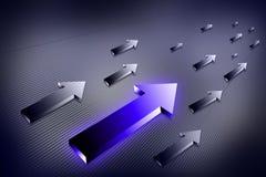Unique and different luminous arrow. Digital illustration of unique and different luminous arrow Stock Photos