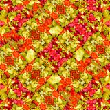 Photo Manipulation Salad Ornate Seamless Pattern. Unique digital collage technique photo manipulated salad image ornate seamless pattern design in vivid warm stock illustration