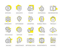 Unique digital money and bitcoin line icon or symbol design with yellow background. Editable Stroke. Vector symbol or icon design element for companies Stock Image