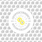 Unique digital money and bitcoin logo on seamless pattern with various icons and symbols vector illustration. Vector pattern or seamless, background design Stock Photo