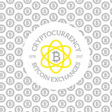 Unique digital money and bitcoin logo on seamless pattern with various icons and symbols vector illustration. Vector pattern or seamless, background design Royalty Free Stock Images