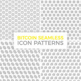 Unique digital money and bitcoin seamless pattern with various icons and symbols on white background flat vector. Vector pattern or seamless, background design Stock Photos