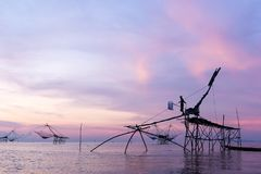 Fishermen catching prawns early morning in Phatthalung province, Thailand Royalty Free Stock Photos