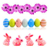Unique Easter borders. Three unique Easter borders - flowers, eggs and bunies stock photo