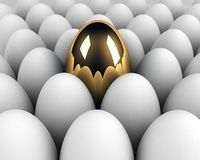 Unique egg in the crowd Royalty Free Stock Photos