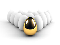 Unique egg leadership concept. Over white Stock Photography