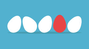 Unique egg in row Stock Image