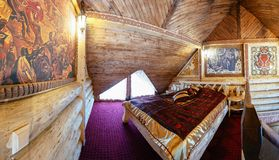 Unique ethnic interior. Traditional, national, design. The hotel room. Ukrainian style and specific decorations of Galicia-Volhynia historical period. Europe Stock Photo