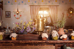 Unique ethnic restaurant interior. Traditional design. Ukrainian rural style and decorations. Europe, Ukraine Stock Photography