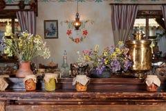Unique ethnic restaurant interior. Traditional design. Ukrainian rural style and decorations. Europe, Ukraine Stock Images