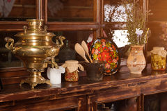 Unique ethnic restaurant interior. Traditional design. Ukrainian rural style and decorations. Europe, Ukraine Royalty Free Stock Photography