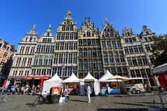 Unique facade of historic shop houses at Grote Markt of Antwerp Stock Photo