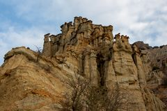 Unique fairy chimneys and blue sky white cloud royalty free stock image