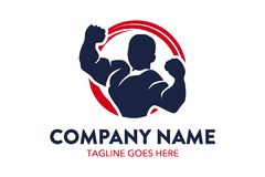 Unique fitness and gymnastic logo template. Simple shape. minimalist color. memorable Royalty Free Stock Images