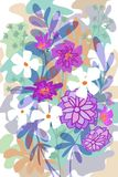 Hand drawn flat floral graphic design for covers, posters, background, garden scene spring and summer. Unique flat floral garden design  background, cartoon free Royalty Free Stock Image