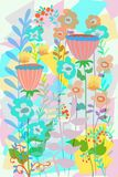 Hand drawn flat floral graphic design for covers, posters, background, garden scene spring and summer. Unique flat floral garden design background, cartoon free stock illustration