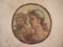 Unique frescoes of Pompei villas Royalty Free Stock Photo