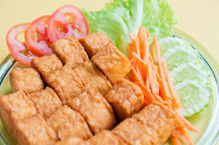 Unique fried bean curd. Fried bean curd and vegetable Stock Images