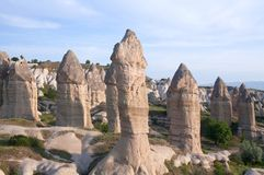 Unique geological formations in Cappadocia, Anatolia, Turkey Stock Image