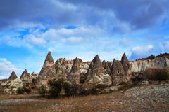 Unique geological formations in Cappadocia, Central Anatolia Royalty Free Stock Image