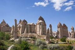 Unique geological formations in Cappadocia, Turkey Royalty Free Stock Images