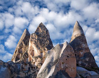 Unique geological formations with dovecotes in Cappadocia, Turke Royalty Free Stock Photo