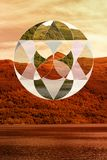 Unique Geometric Collage over the image of Scotland in Autumn. Royalty Free Stock Images